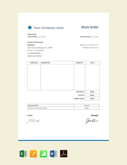 free sample work order
