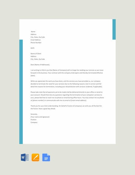 Free-Service-Termination-Letter-Template Sample Cancellation Letter Template For Payroll on job interview, epa voluntary, request for, patient appointment, auto insurance,