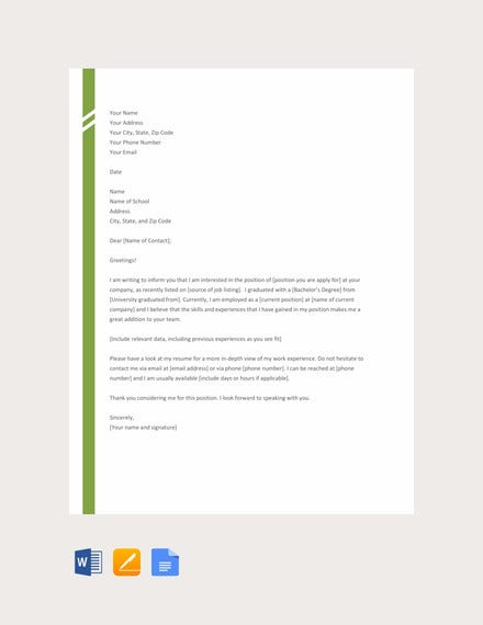 free simple application letter template1