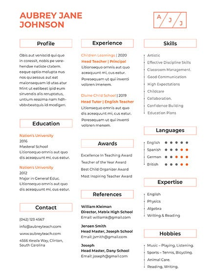 free teacher resume format