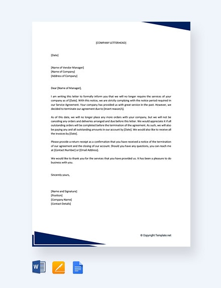 free termination of services letter to supplier