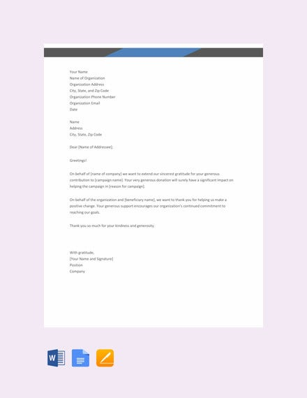 free thank you letter for donation template1