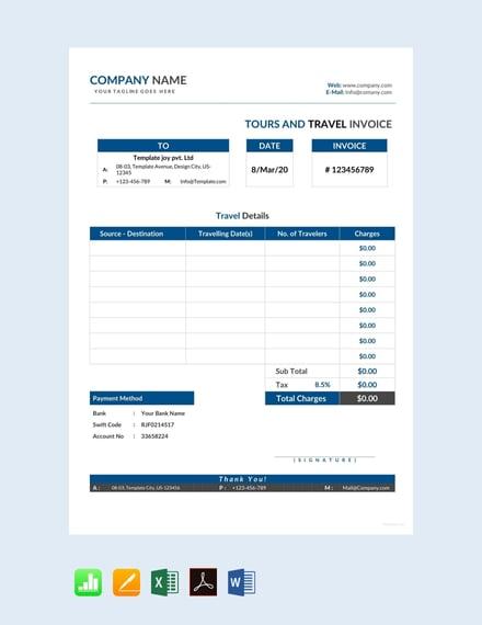 13+ Travel Invoice Templates - Word, Excel, PDF | Free ...