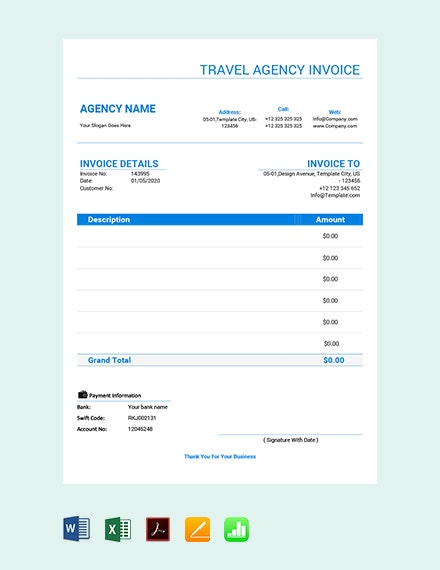 free travel agency invoice template 2