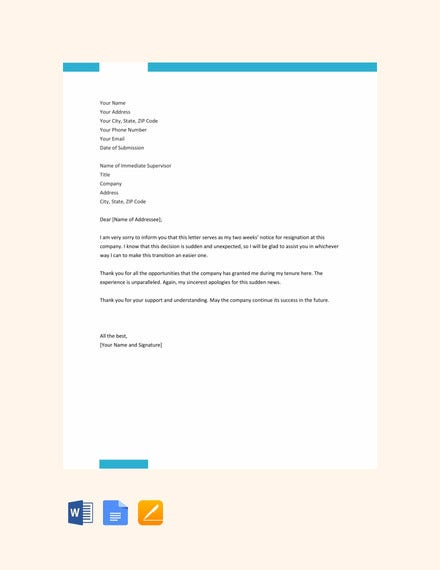 free two weeks notice resignation letter
