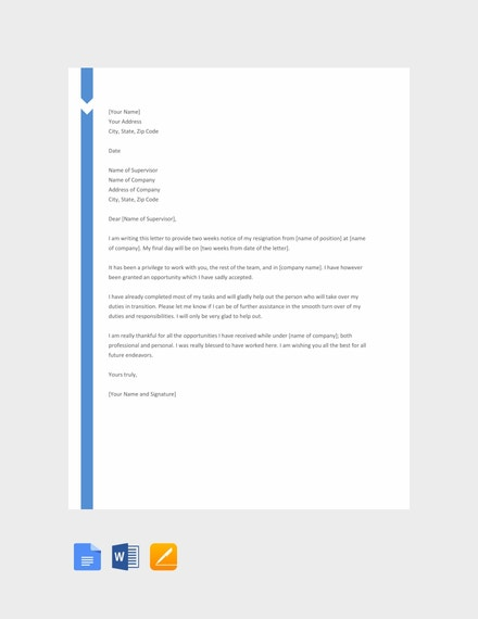 free two weeks notice template