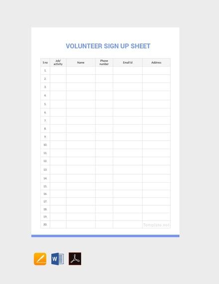 12 sign up sheet templates free premium templates