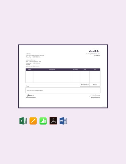 free work order template