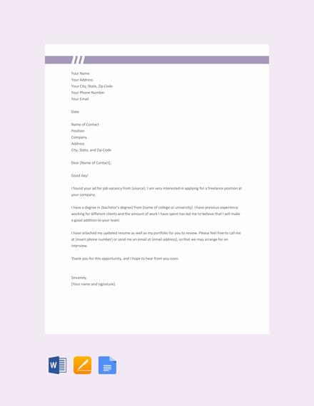 freelance cover letter resume