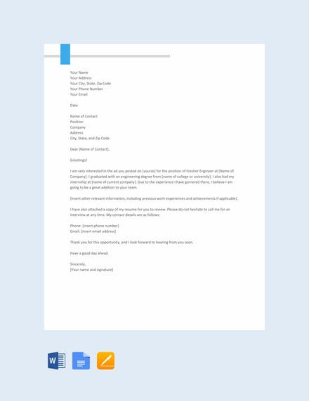 fresher engineer resume cover letter template
