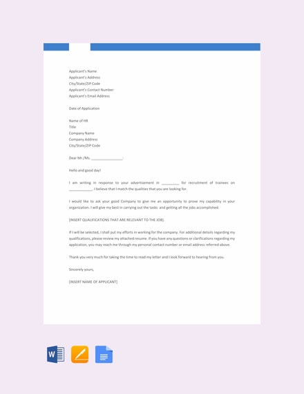fresher job application letter template