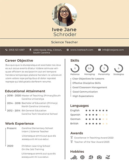 fresher school teacher resume template