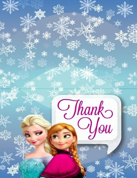 frozen themed thank you invitation template