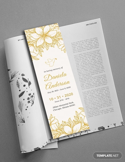 funeral bookmark template psd