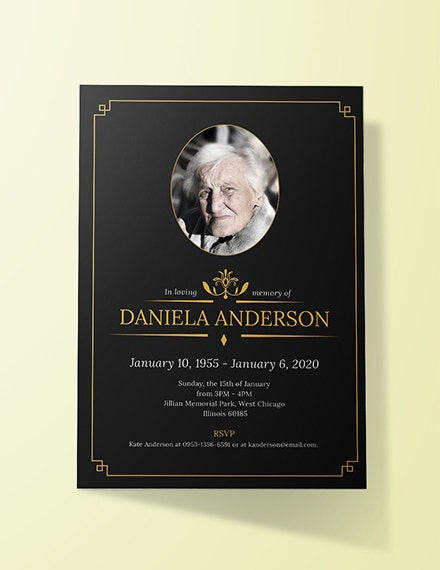 funeral luncheon invitation template sample