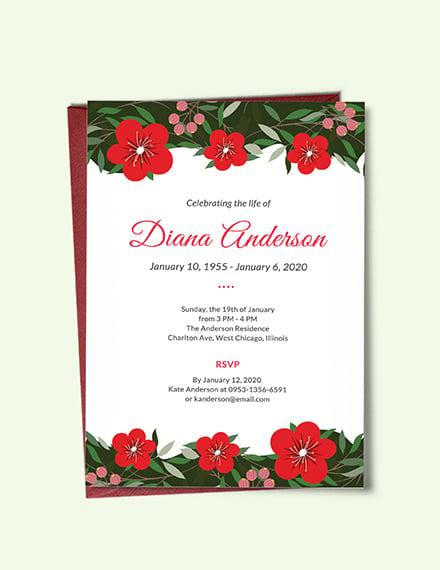 funeral repast invitation card template
