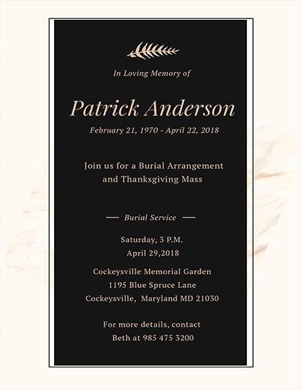 Funeral Service Invitation Template