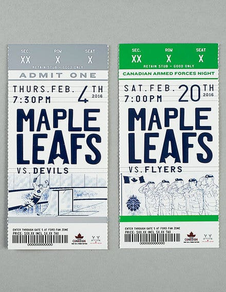 game ticket design example