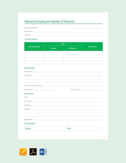 General Employee Details Record Sheet