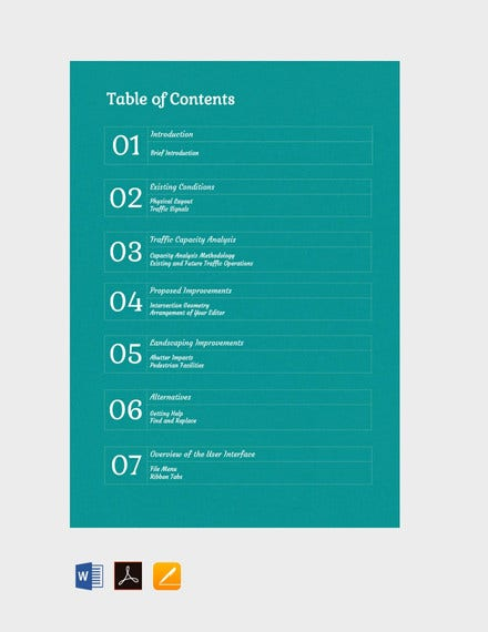 generic table of contents template