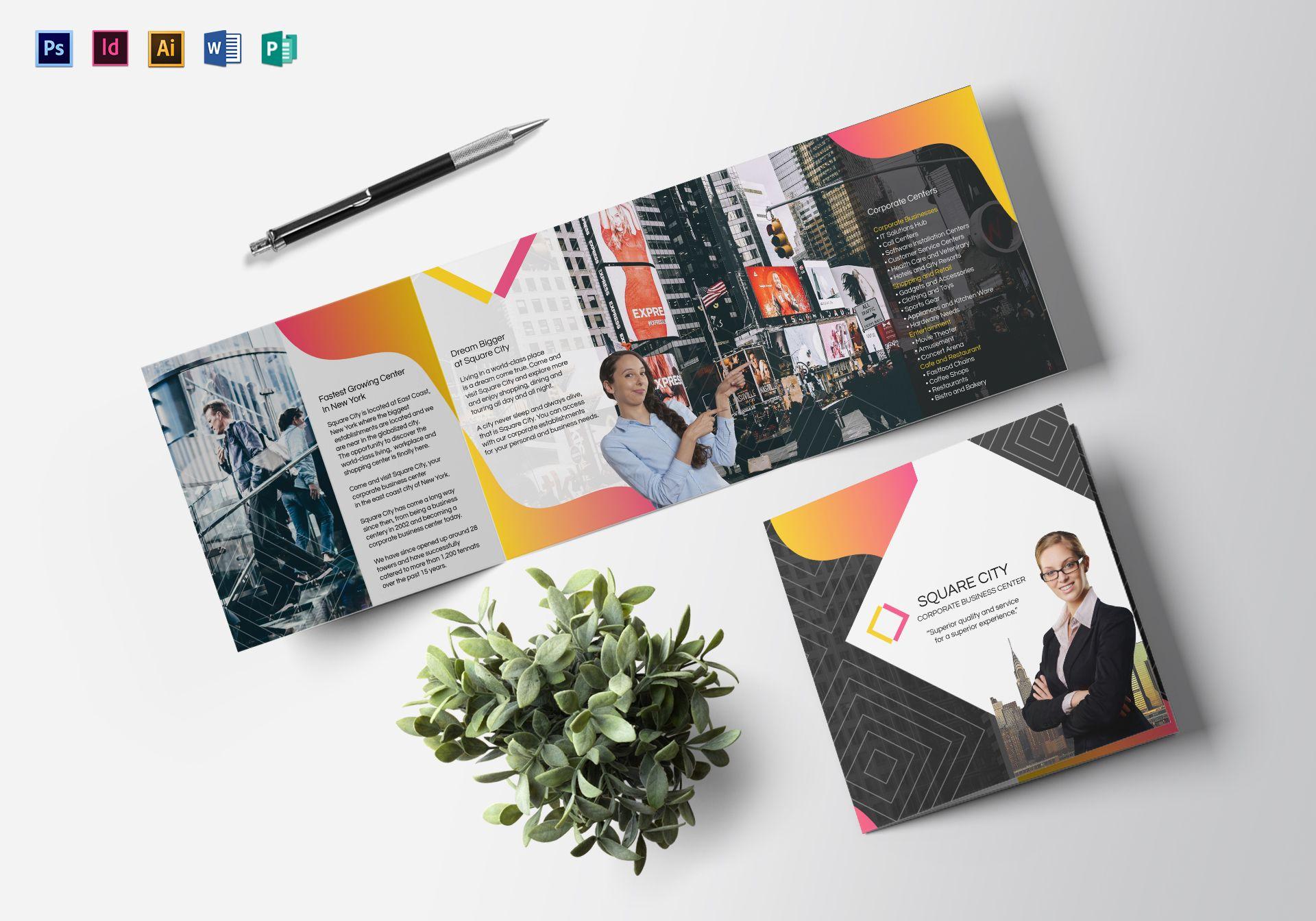 geometric minimalist square brochure example