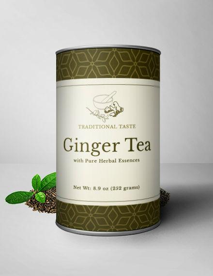 Ginger Tea Bottle Label PSD Template