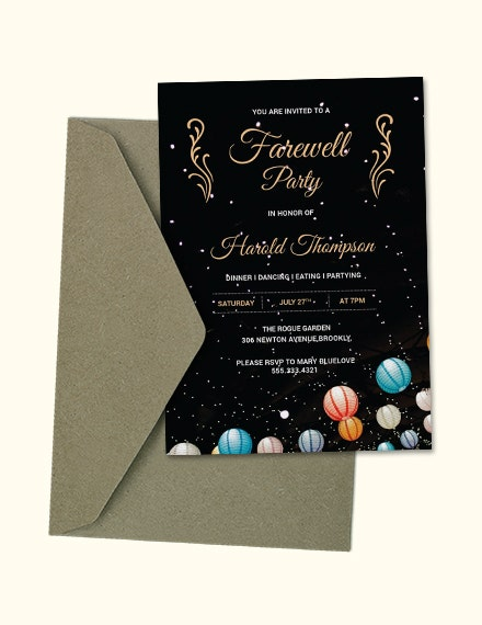 Glittered Farewell Party Invitation Example