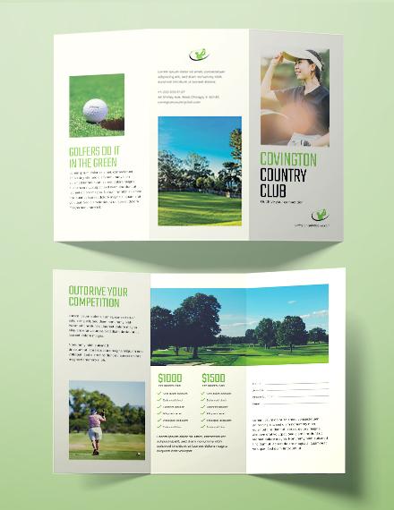 golf country club brochure sample