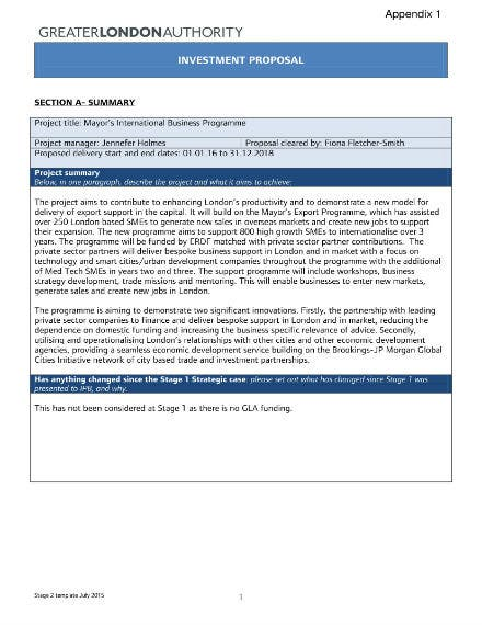 government business investment proposal sample