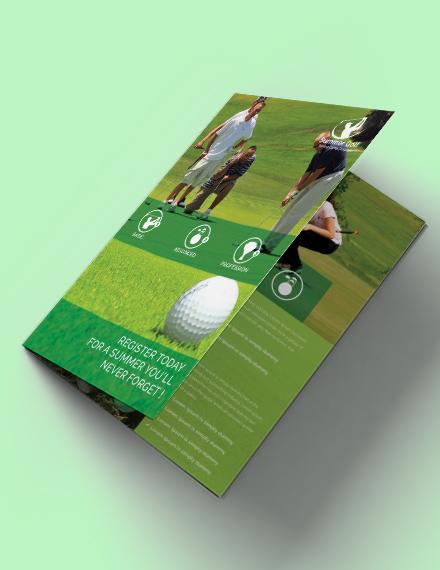 green golf bifold brochure template