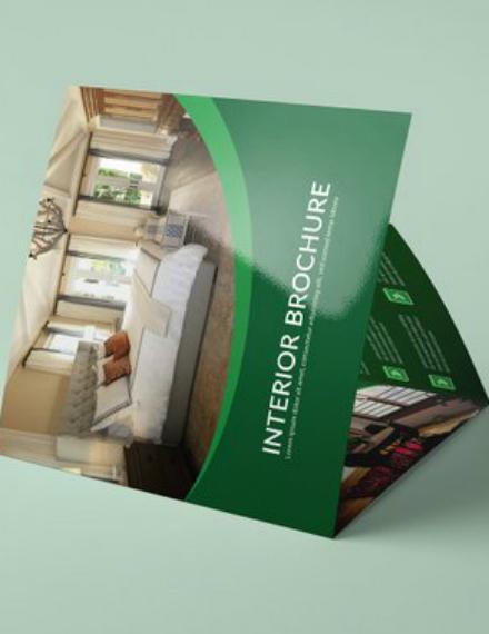 green interior square brochure sample