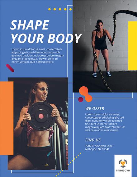 gym flyer design template 1x