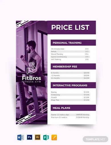 gym price list template