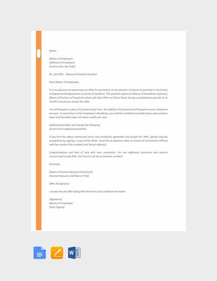 hr promotion letter template