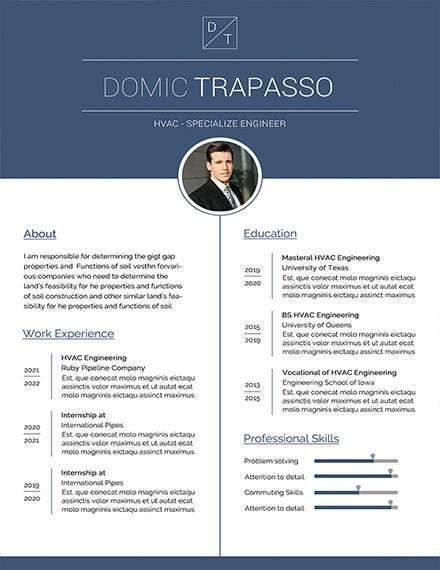 hvac engineer resume template