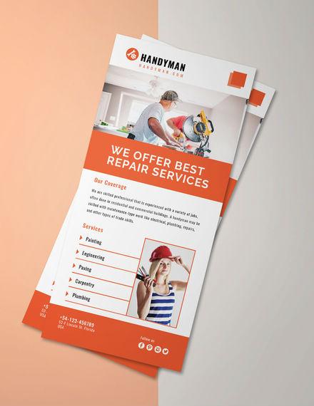 handyman rack card psd template