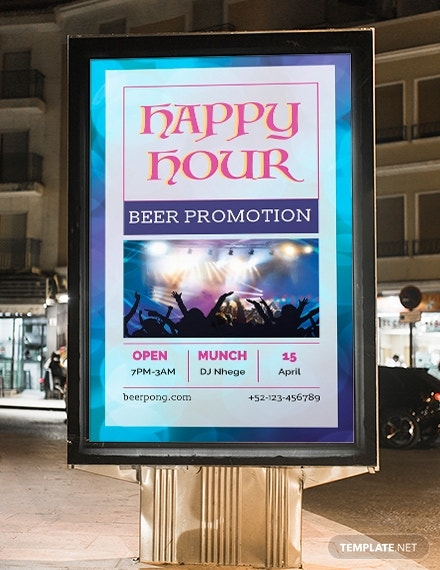 happy hour digital signage template in psd