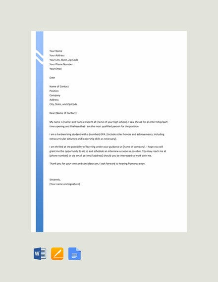 high school resume cover letter template