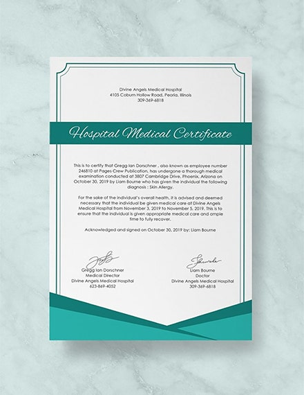 Hospital Medical Certificate Template