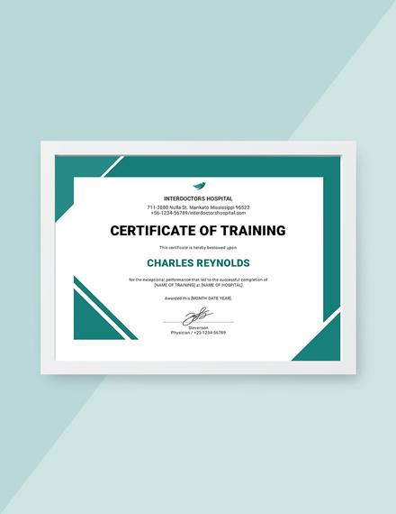 hospital training certificate