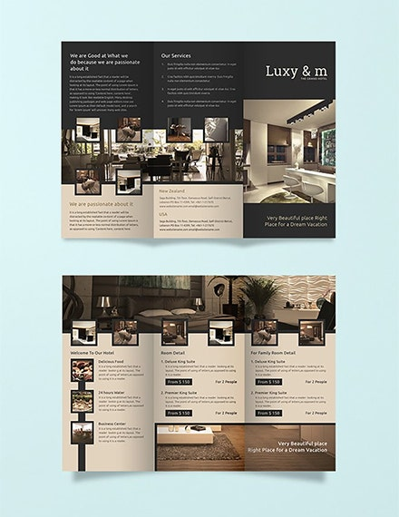 hotel business trifold brochure example