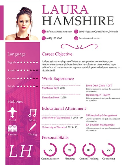 hotel job fresher resume template