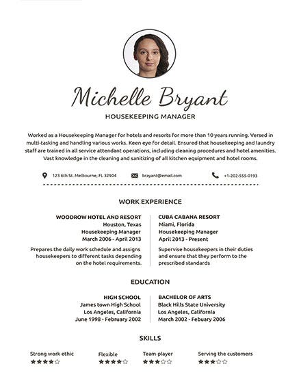 housekeeping resume template1