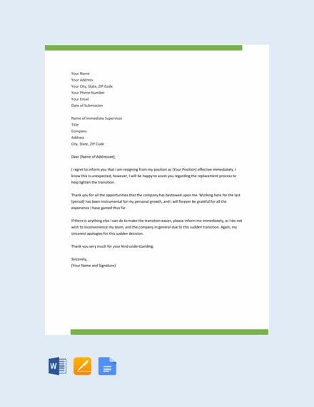 immediate resignation letter template1
