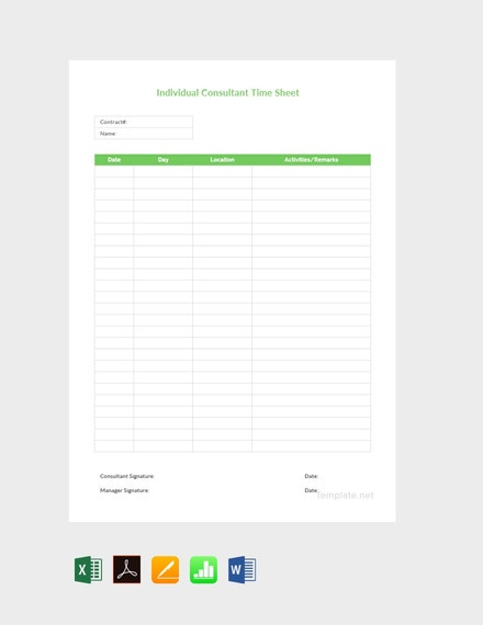individual consultant timesheet template