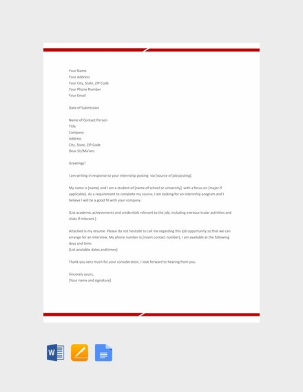 internship application letter template