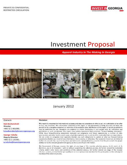 investment proposal for apparel business