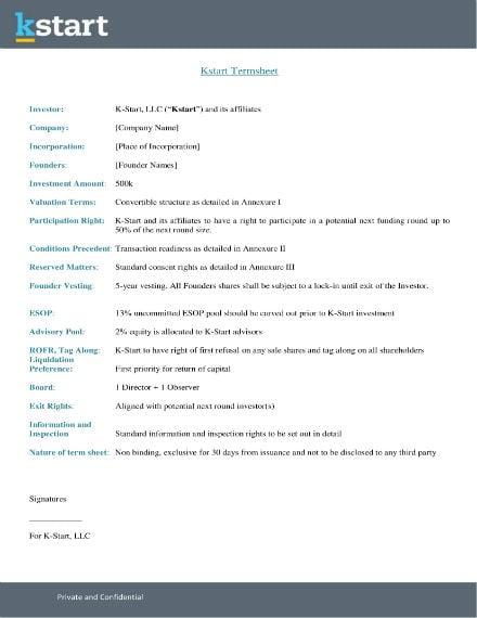 investor term sheet sample