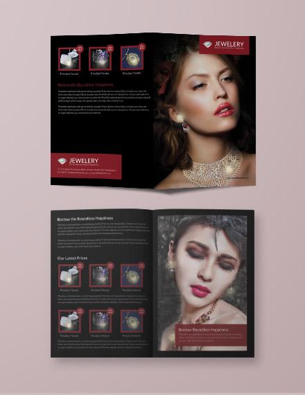 jewelry advertising bifold brochure format