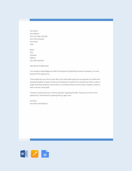 job acknowledgement letter template